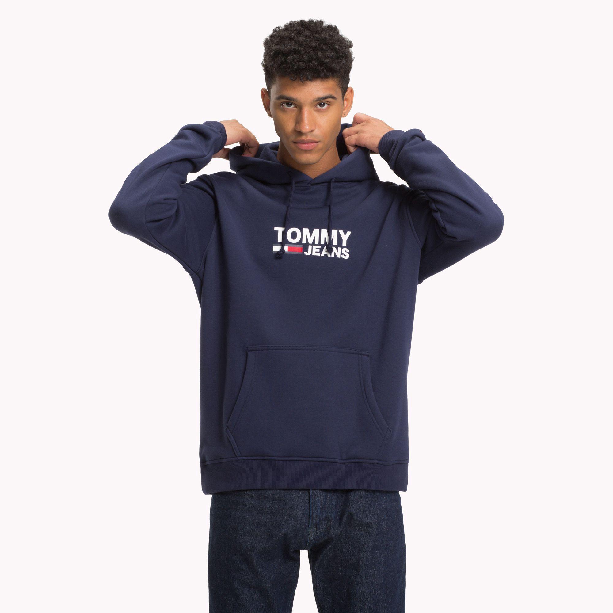 Tommy Hilfiger Simple Logo Hoodie Black Iris S Mens