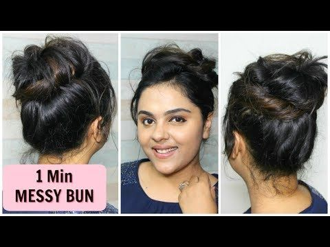 1 Min Messy Bun /Everyday hairstyles for school/college/work | Tanutalks - YouTube | Hairstyles ...