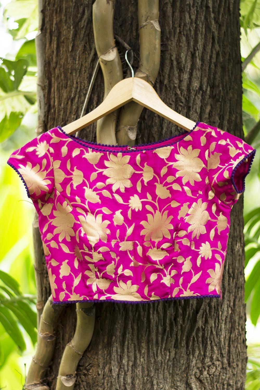 Fuchsia Pink Brocade Blouse With Purple Edging | Ρουχα | Pinterest ...