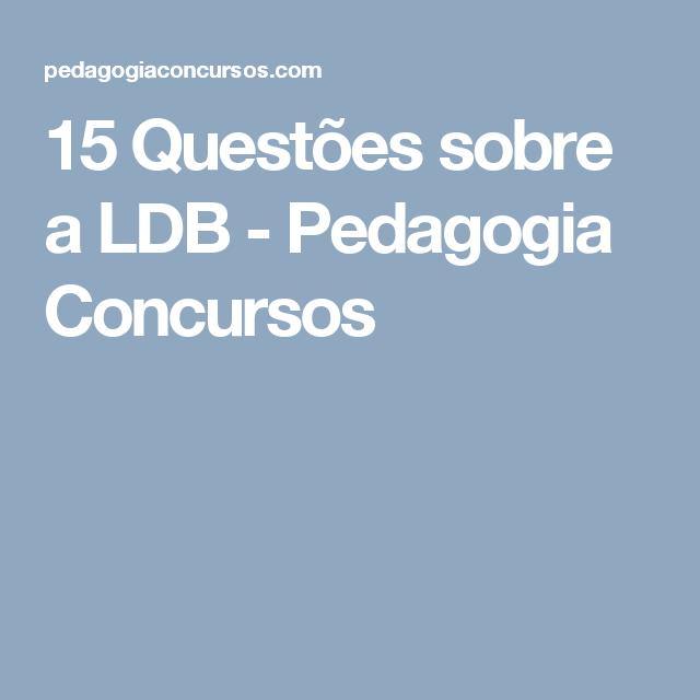15 Questes Sobre A LDB