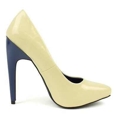 NEW Fahrenheit Color Block Pointed Toe Pump in Nude blue heel Sz 7 women's