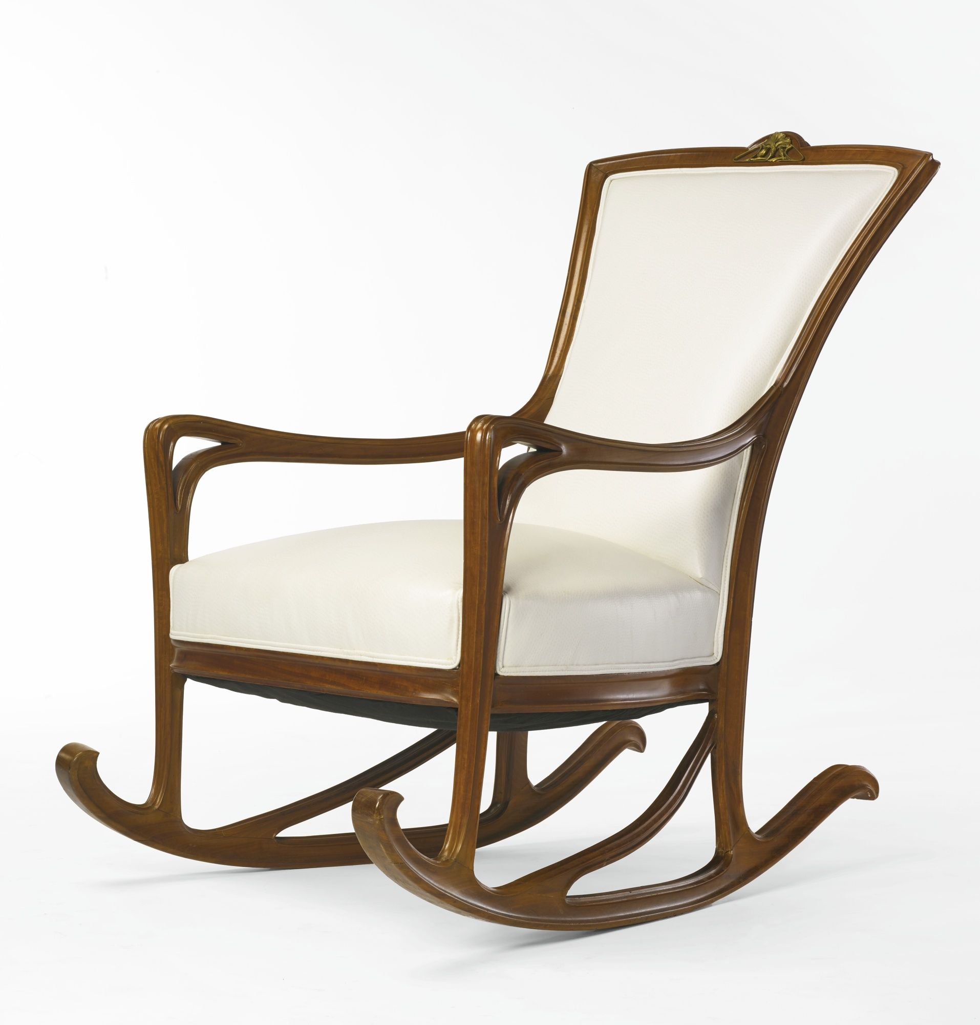 Louis Majorelle Rocking Chair Fruitwood Gilt Bronze And Leather  # Muebles Fischel