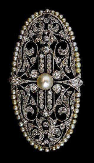 Edwardian Diamond & Pearl Brooch