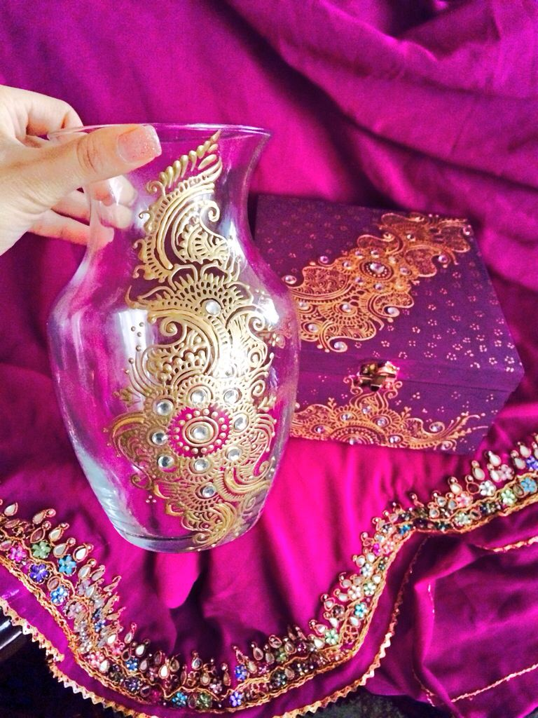 Henna inspired glass vase and jewellery box by Sonia's Henna Art  Hand Crafted , painted