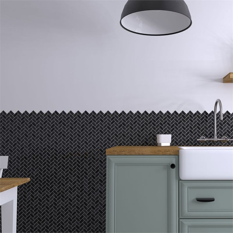 Homelux Raven Mosaic Tile At Homebase Co Uk Feature Tiles Mosaic Tiles Black Kitchens