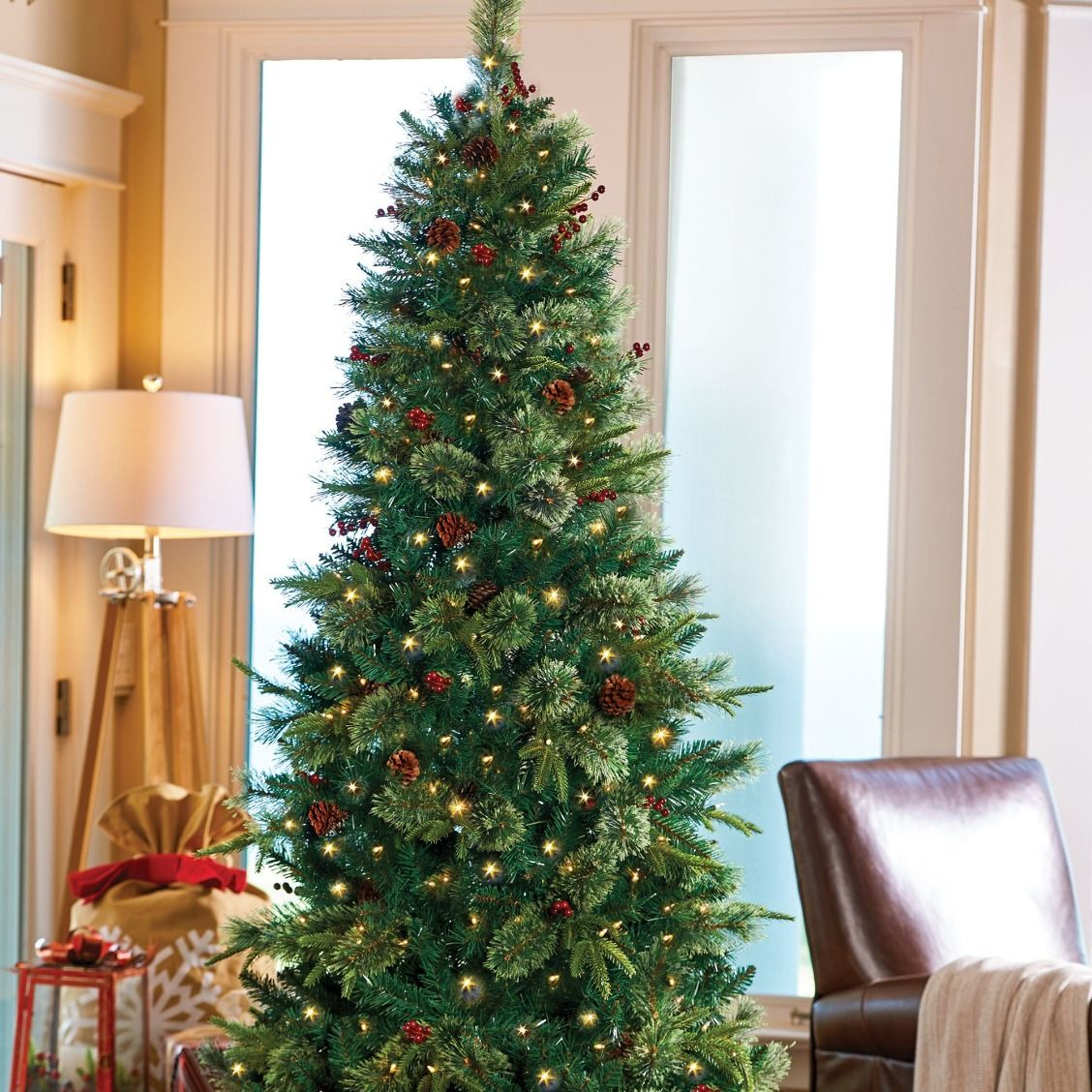 a slim and stylish small space solution these pre lit christmas trees look and smell like the real thing thanks to a generous number of tips and 4 - Small Pre Lit Christmas Trees