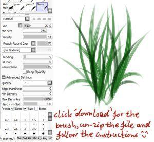 Paint tool SAI grass brush by ChildOfMoonlight on