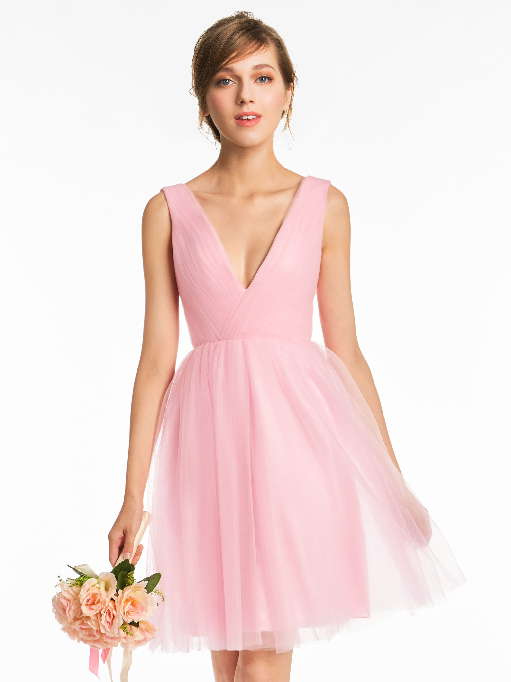 V Neck A Line Tulle Short Sleeves Bridesmaid Dress