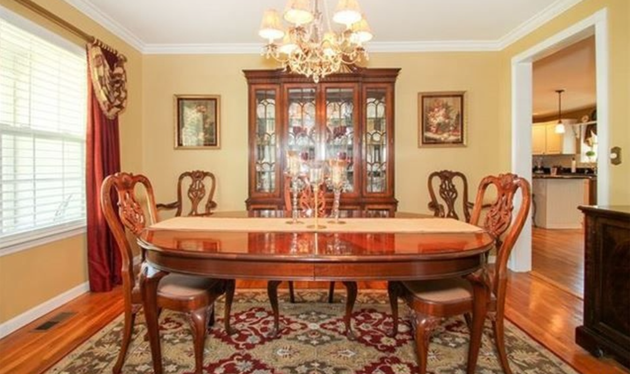 Home interior design dining room crown molding in dining room and chandelier  home interiors