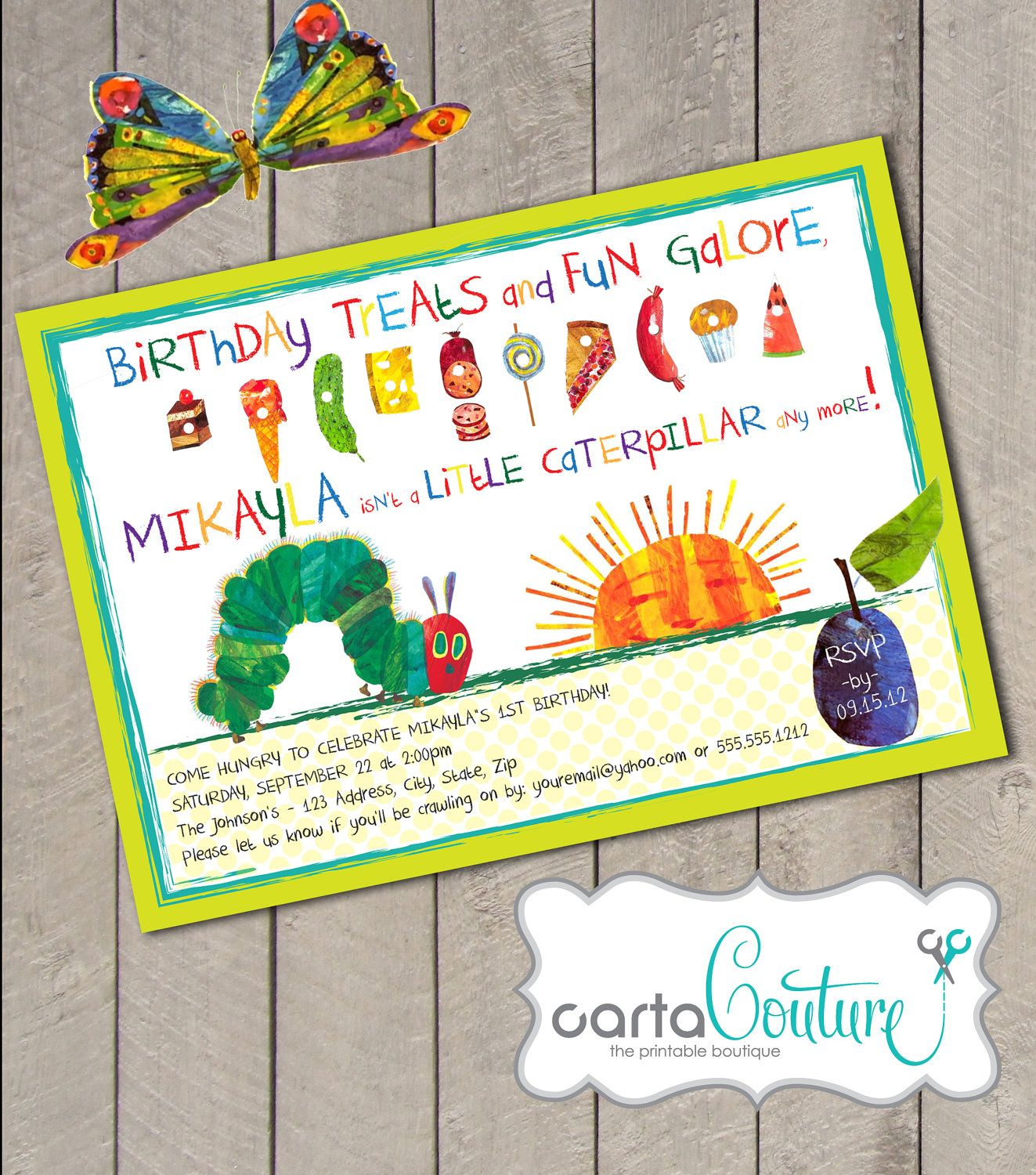 very hungry caterpillar invitations - Google Search | Baby Birthday ...
