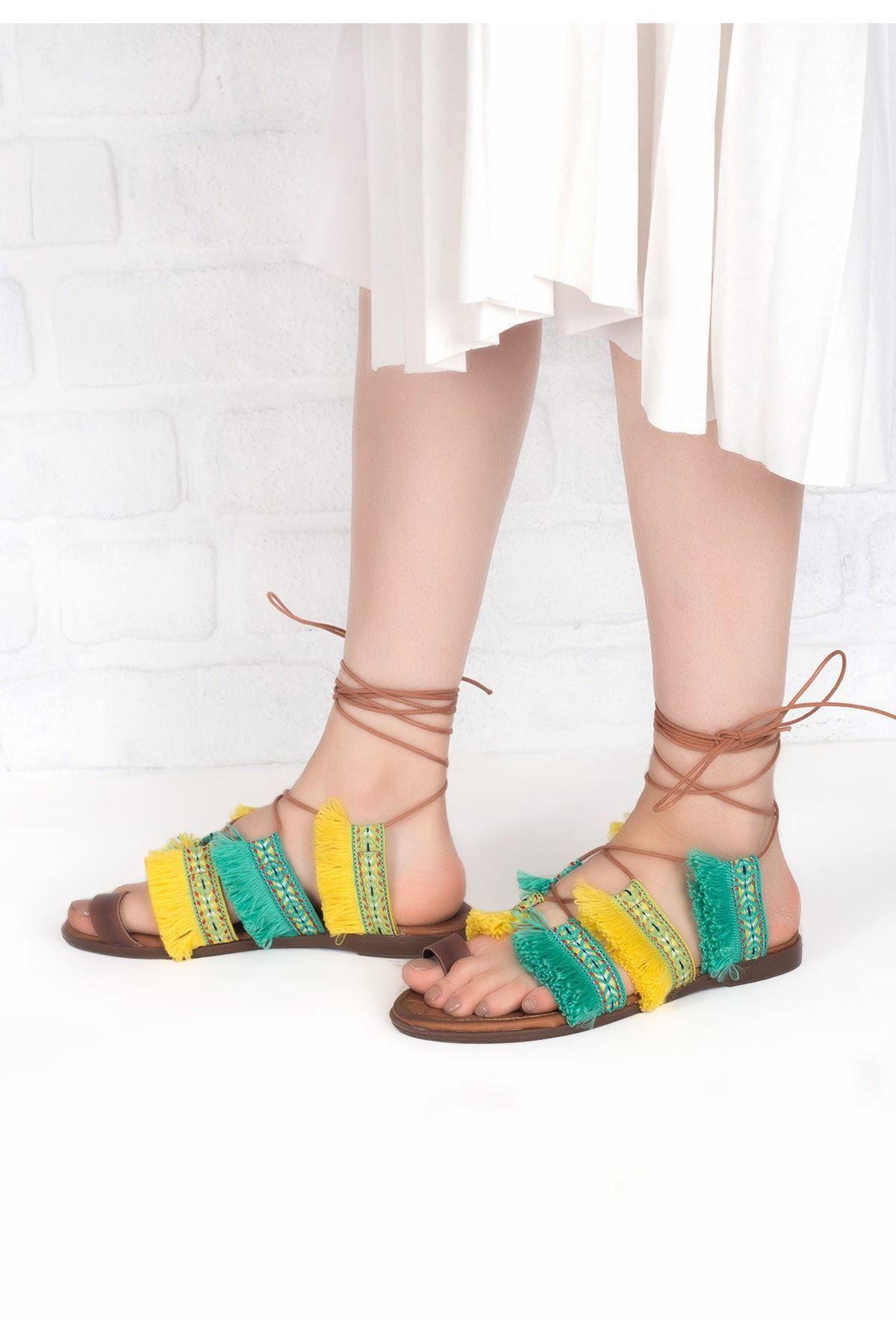 Efisio Sari Yesil Renkli Bilekten Baglamali Bayan Sandalet Ayakkabi Sandalet Ayakkabilar Bayan Ayakkabi