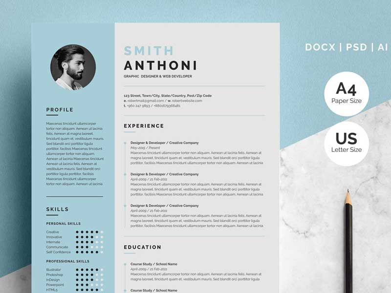 Free 2 Pages Resume Template Download Resume Design Template