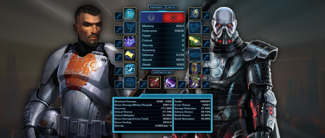 Swtor 6 0 Endgame Gear Calculator For Level 75 The Old Republic Mr Robot News Games