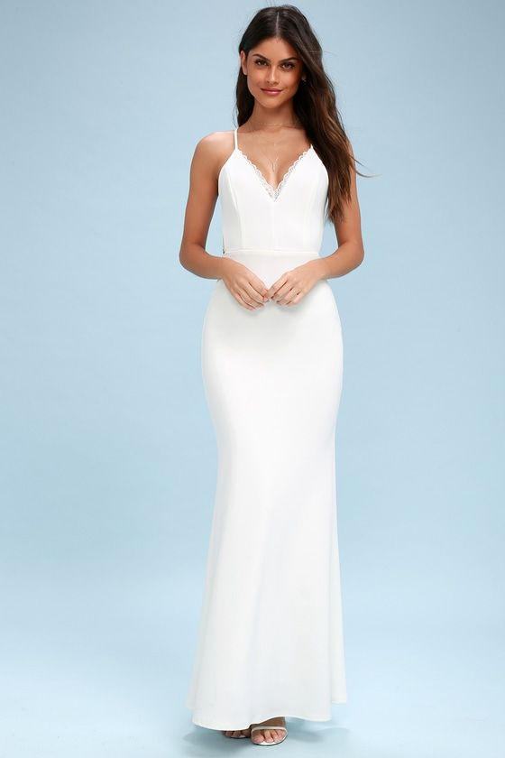 Love Story White Backless Lace Maxi Dress