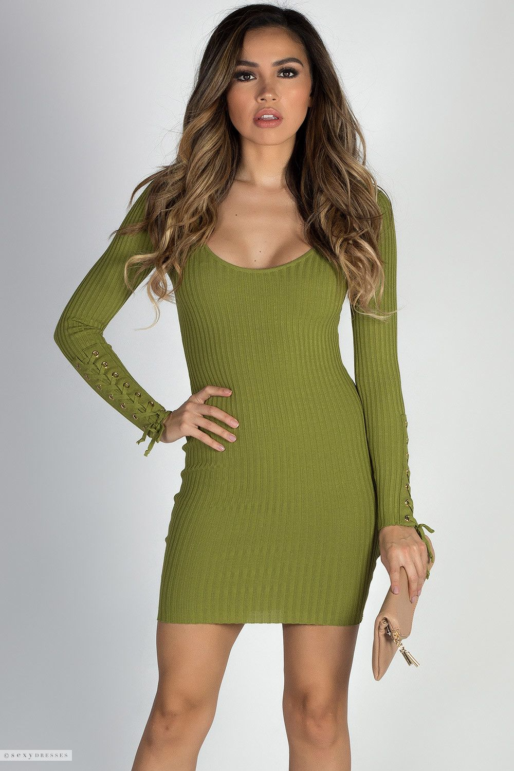 9088b7a959d Scoop Neck Bodycon Olive Green Sweater Dress with Lace Up Long Sleeves