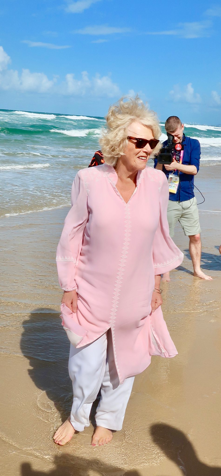 HRH The Duchess of Cornwall couldn\'t resist dipping her toes in the ...