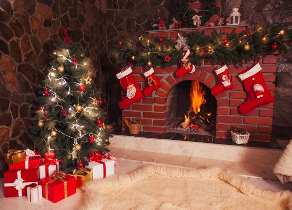Christmas Backdrop Tree Old Fireplace Room By