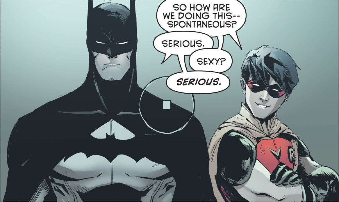 Alfred taking a picture of Batman and Robin Jason Todd Bruce