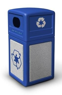 Lavex Janitorial 23 Gallon Slim Recycle Station With Black Flat Top Blue Bottle Can And Green Paper Lids In 2020 Recycling Station Recycling Containers Recycling Bins