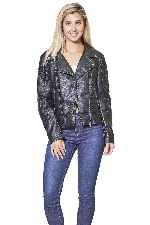 Clearance Women's Faux Leather Studded Biker Jacket