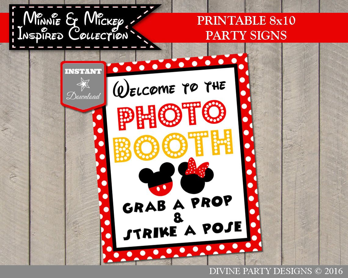 Mickey and Minnie Mouse Birthday Party Ideas: Printable 8x10