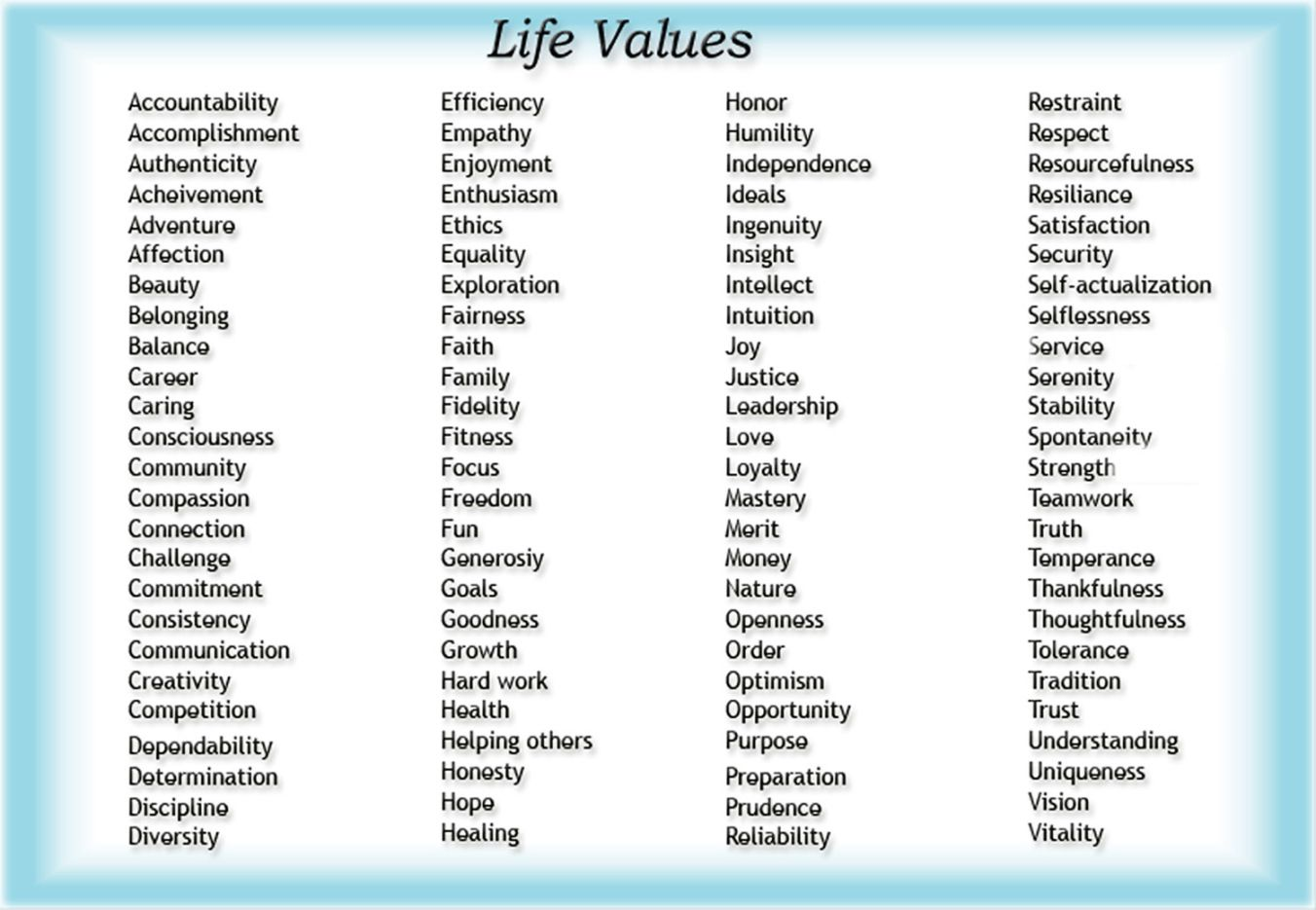 Value Personal Core Life List Essay