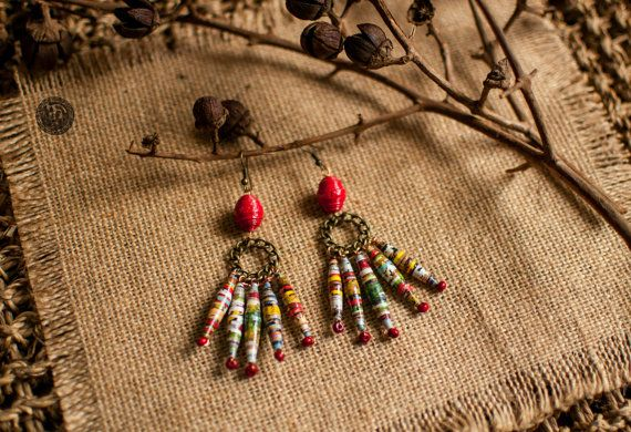 Sunset Colors Paper beads Earrings - ES-005: These earrings are made from paper. It is connected together with circle stylized made copper plated and wood beads.This piece of jewelry comes from inspirational combination from many colors and images of Nature.