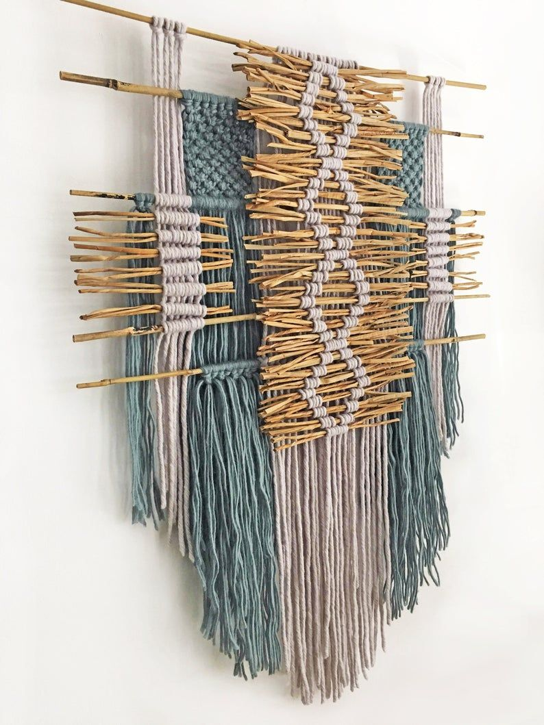 Macrame Wall Hanging With Bamboo And Wicker Boho Home Decor Textile Art Wool Yarn Natural Fibers Contemporary Fiber Art Tapestry Bamboo Decor Macrame Wall Hanging Macrame Patterns
