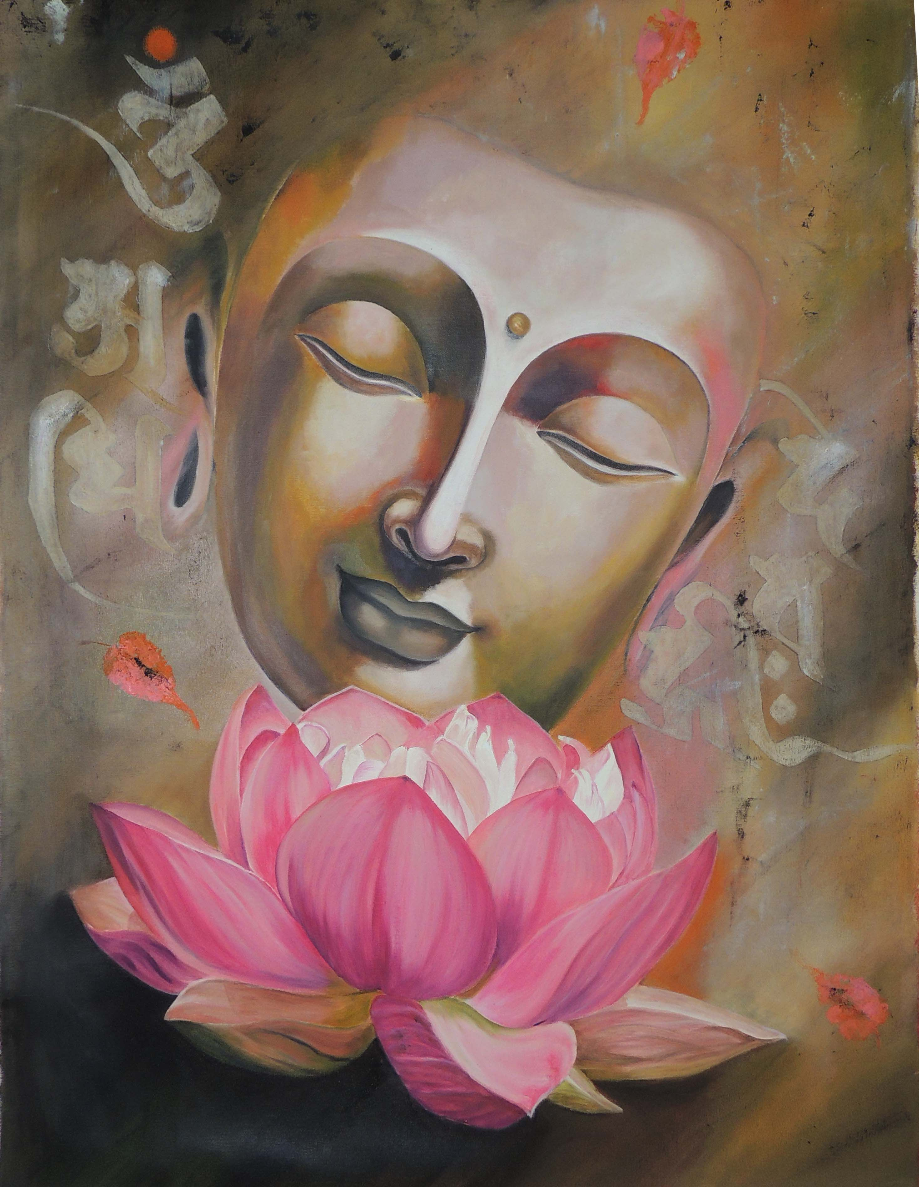 This Beautiful Painting Of Lord Buddha S Face Is Depicting Subtle Beauty And Peace Artist Wants To Give A Peace Message Through He Buddha Painting Buddhist Art Buddha Drawing