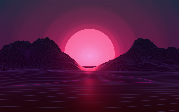 Download Wallpapers Sunset 4k Pink Sun Abstract Landscape Neon Lights Art Creative Besthqwallpapers Com Fondos De Pantalla Pc Fondos De Pantalla Psicodelicos Fondos De Pantalla Escritorio