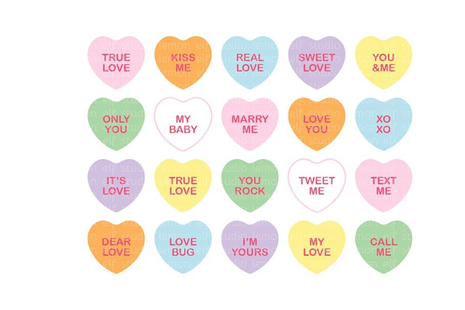Conversation Heart Clipart Les Cl22 Converse With Heart Clip Art Sweetheart Candy