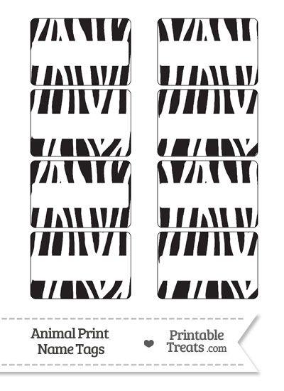 Zebra Print Name Tags From PrintableTreats