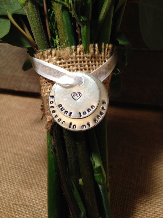 Hand Stamped Bridal Bouquet Memorial Charm Stamped Memorial Charm