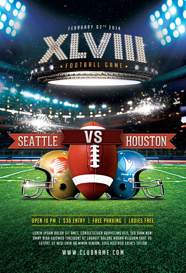 XLVIII Football Game Flyer Template by Easybrandz, via