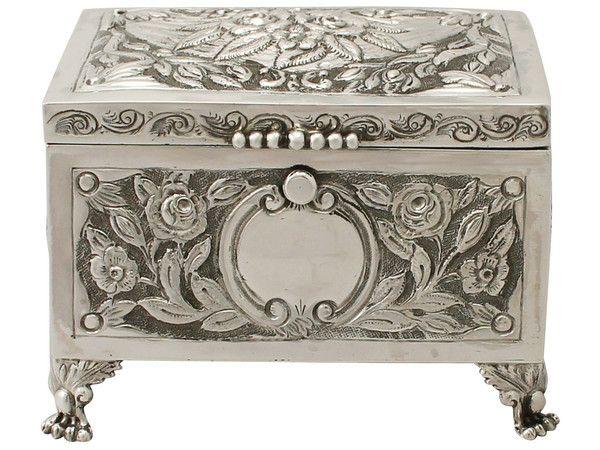 Antique Edwardian Sterling Silver BoxJewellery Casket Jewelry