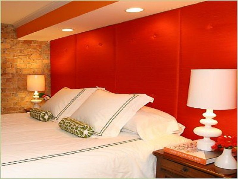 Nice Red Bedroom Wall Painting Ideas Part - 2: Nice Scarlet Red Bedroom Wall Painting Ideas