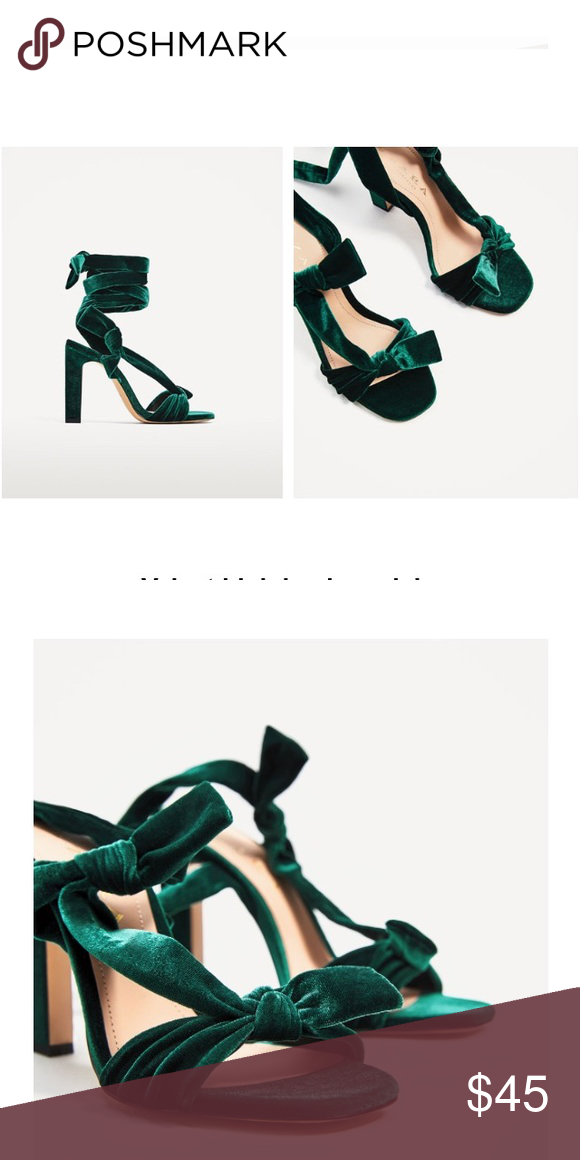 bd47a8d09fa Zara high heel sandals Zara velvet high heel sandals beautiful emerald green  color. Brand new with tags. Still in the box. Zara Shoes Heels