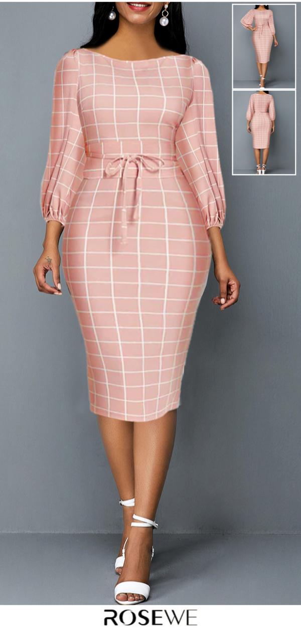 2019's Hottest & Lantern Sleeve Plaid Print Tie Front Sheath Dress