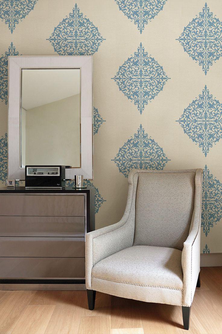 Pastiche Blue Classical Motif Wallpaper. Lovely wallpaper