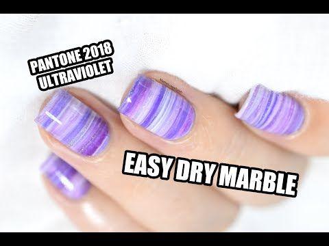 Easy Dry Marble Nail Art Tutorial Pantone 2018 Ultraviolet