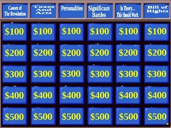 This is a jeopardy game about the american revolution for a 9th 2 free esl jeopardy powerpoint games for esl students these games take about 30 minutes and work great as templates to make more games toneelgroepblik Images