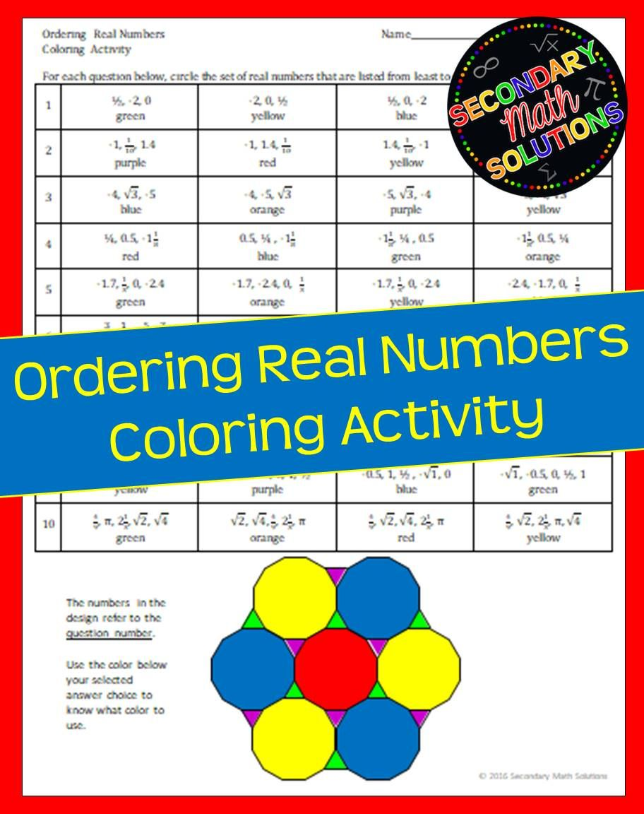 Ordering Real Numbers Coloring Activity Secondary math