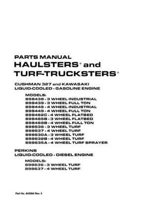 EZGO 842584 2005 Service Parts Manual for Gas Cushman 327