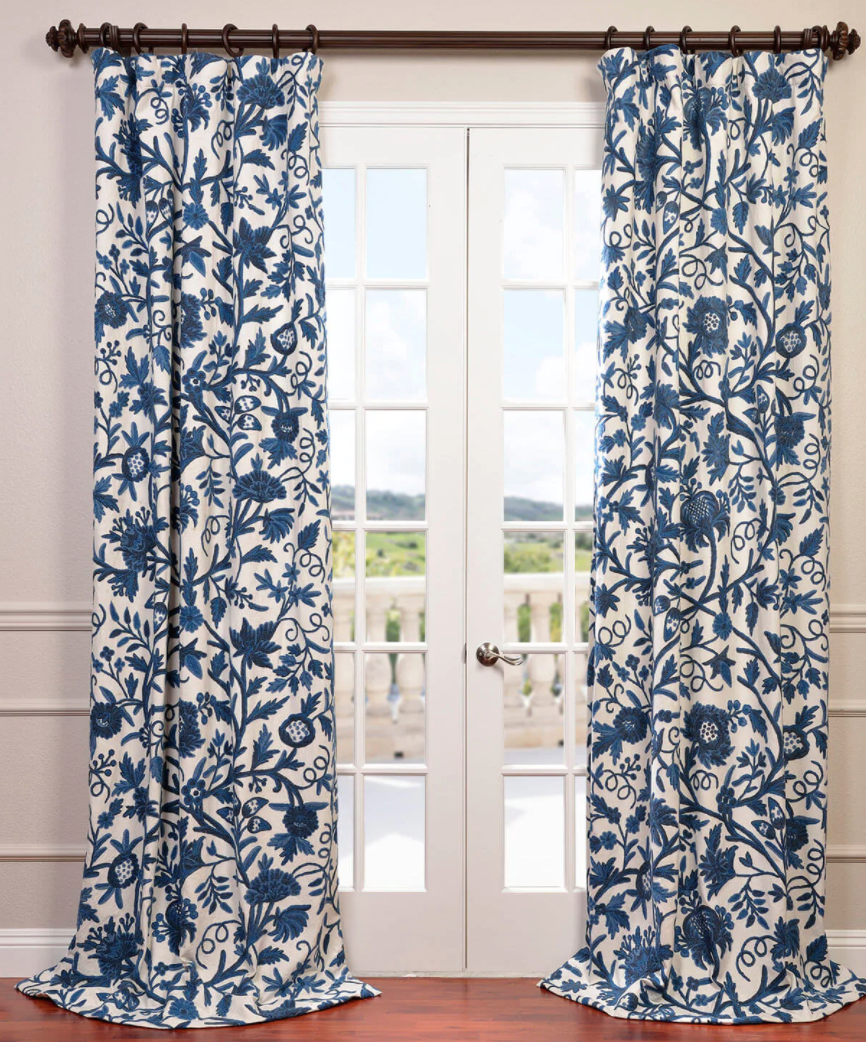 Norway Crewel Embroidered Panels Blue Curtains Living Room Dining Room Curtains Curtains Living Room Blue and white curtain panels