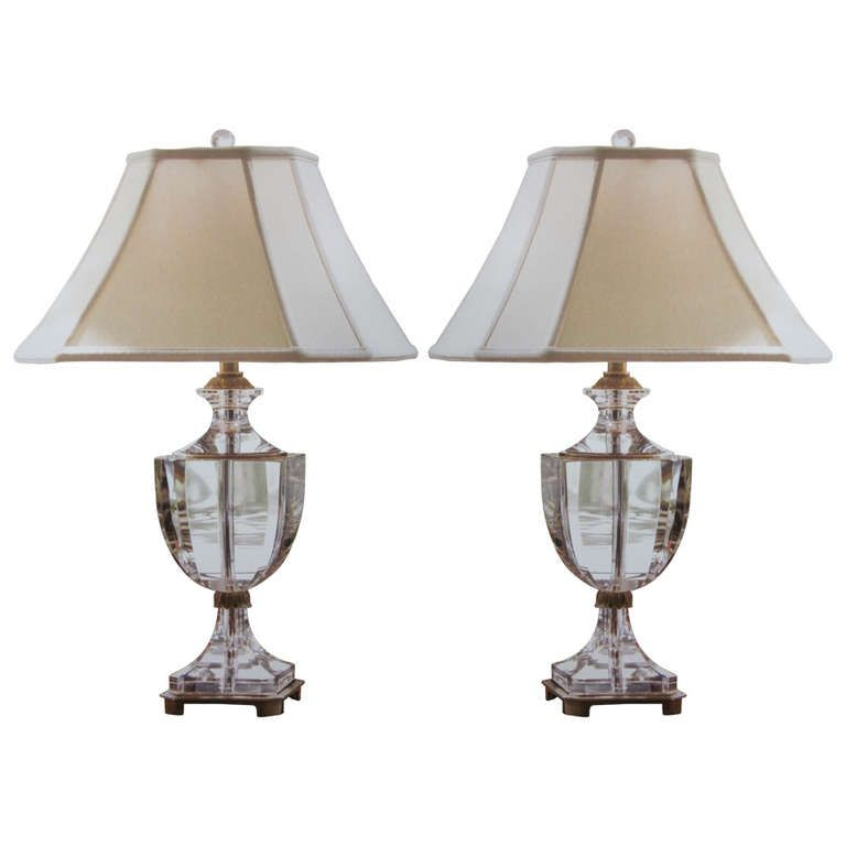 neoclassical lighting. Plain Lighting Pair Of Modern Neoclassical Solid Crystal Table Lamps  From A Unique  Collection Antique And Modern Table Lamps At  Intended Lighting C