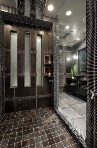 Contemporary Bathroom Remodel Walk In Shower With 24 Rain
