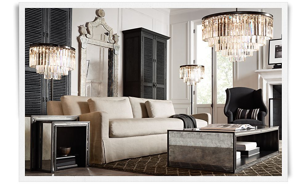 Love This Living Room Mirror Chandelier Tables It All Rooms Restoration Hardware