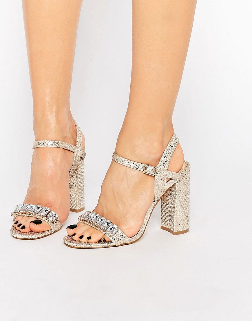 Lipsy Bex Gold Thread Embellished Mid Heel Sandals At Asos Com Kitten Heel Sandals Mid Heel Sandals Gold High Heel Shoes