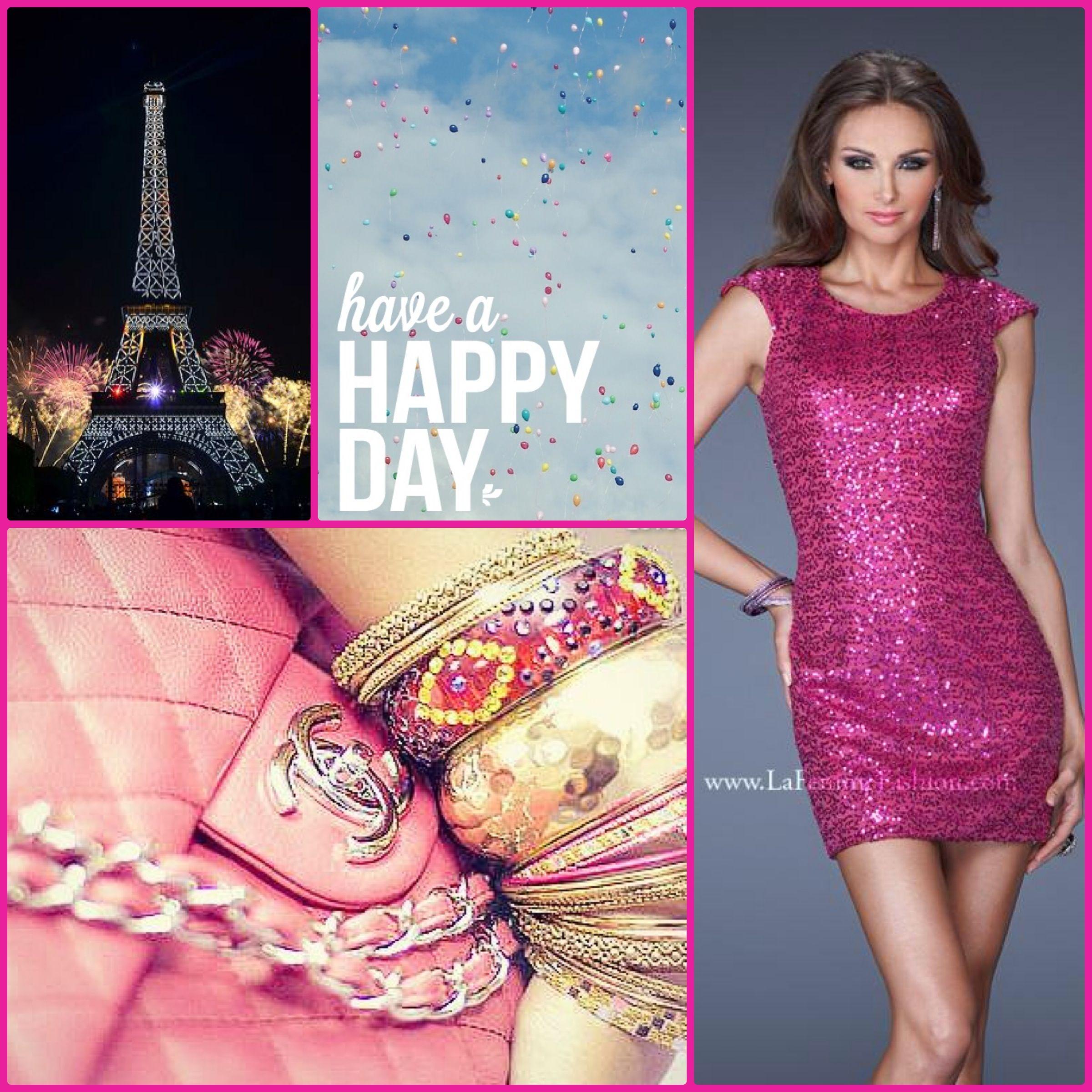 La Femme Style 19464 magenta - magenta sparkly dress - short pink ...