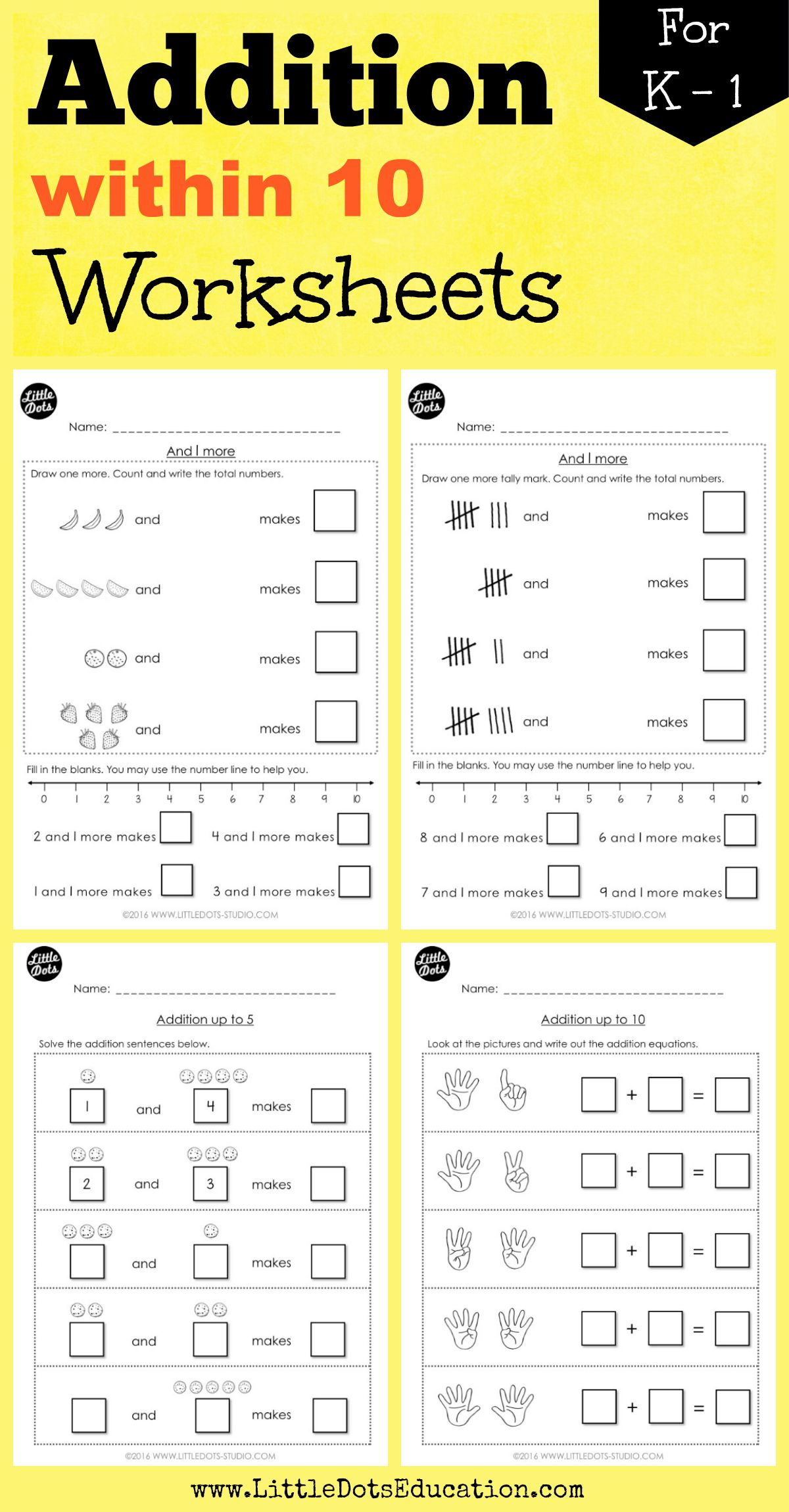 Kindergarten Addition Within 10 Worksheets And Activities